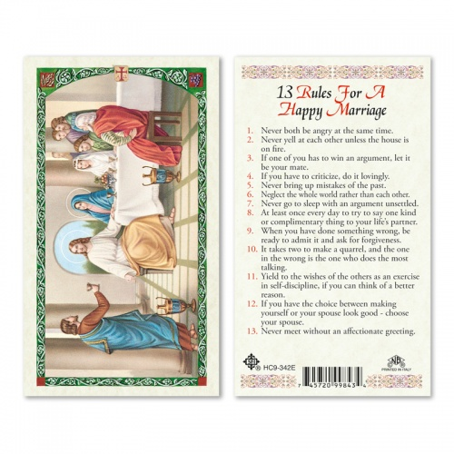 13 rules for a happy marriage english holy card laminated